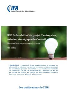 RSE & durabilité du projet d'entreprise, mission stratégique du Conseil - janvier 2017