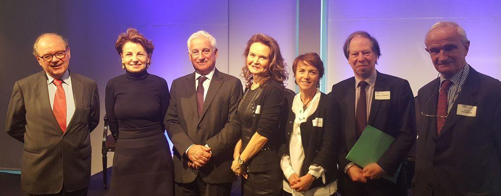 De gauche à droire : Pascal Durand Barthez, Agnès Touraine, Pascal Colombani, Anne Outin-Adam, Sylvie Le Damany, Pr. Michel Germain, Gérard Tavernier