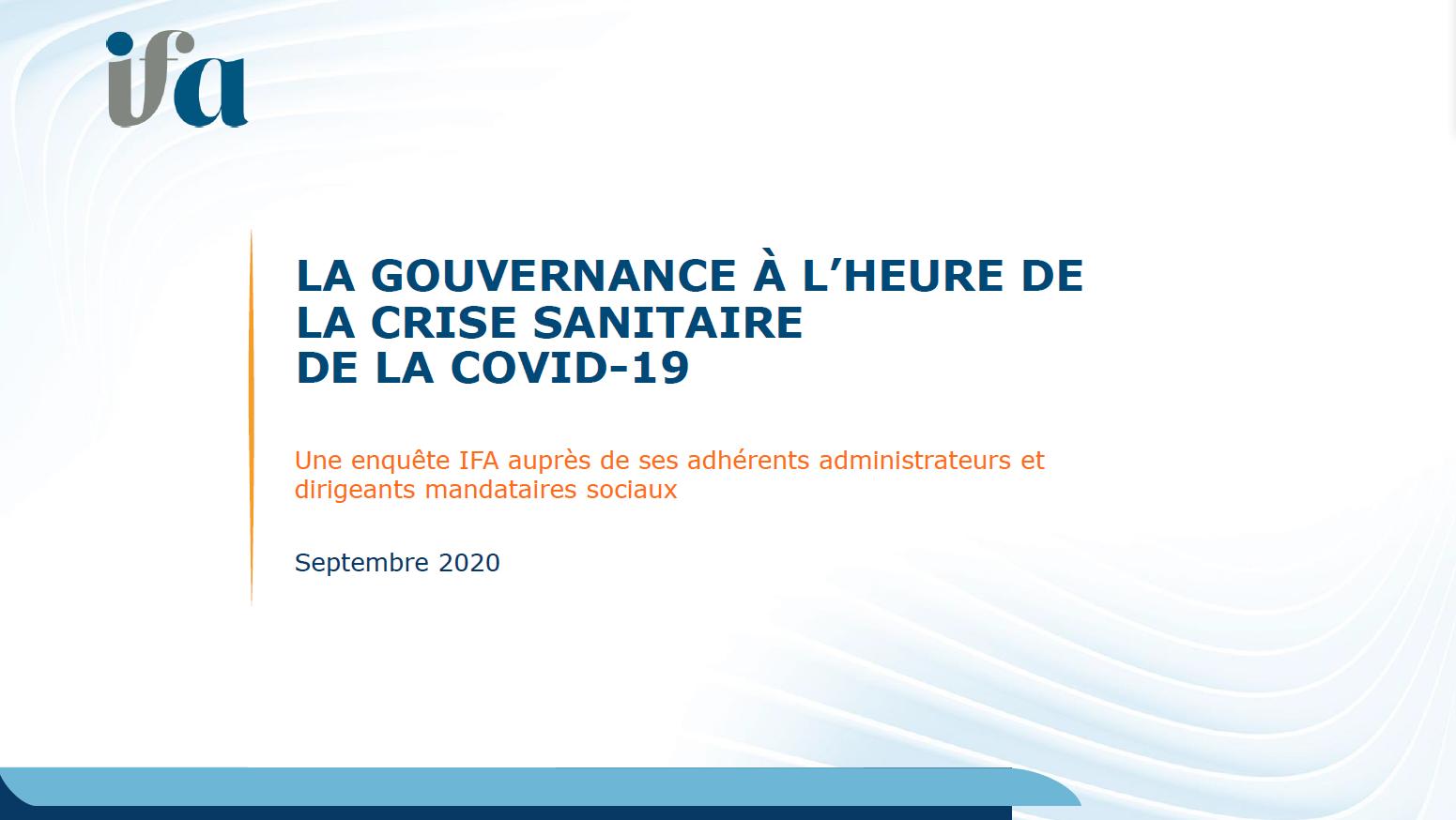 Enquête IFA : La Gouvernance à l'heure de la crise sanitaire COVID-19