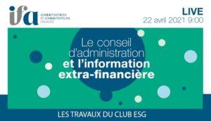 Live Débat - Le conseil d'administration et l'information extra financière
