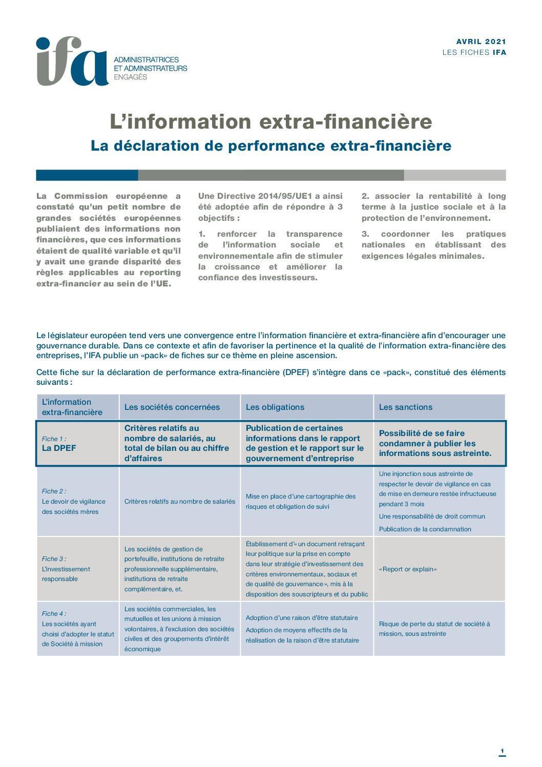 Nouvelle fiche IFA : La déclaration de performance extra-financière
