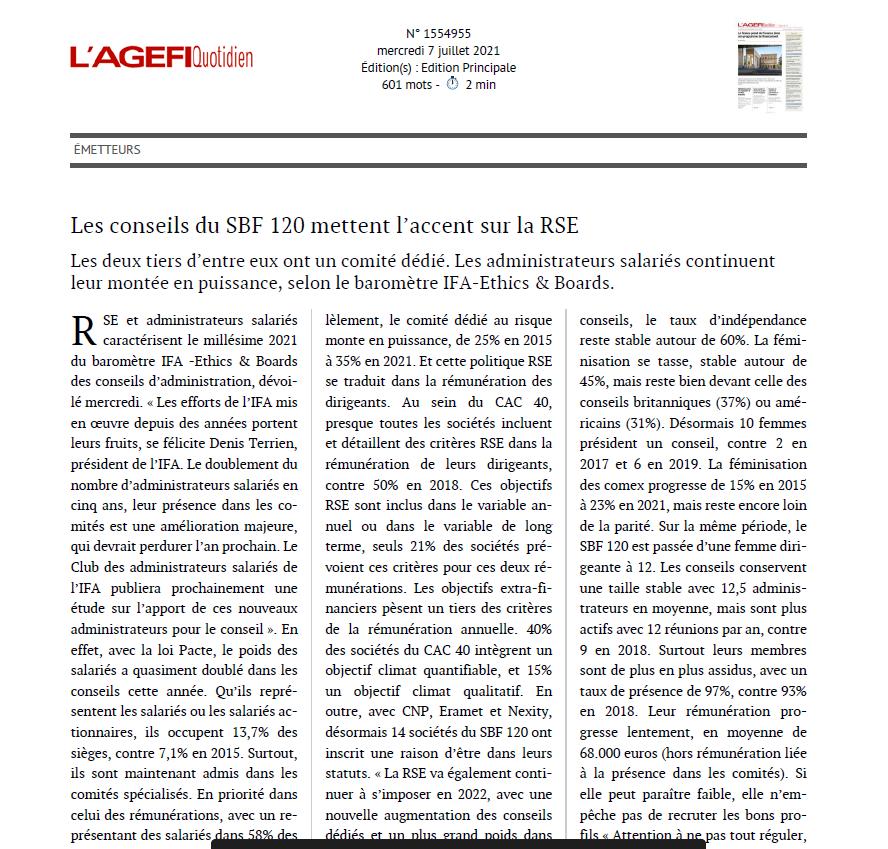 Baromètre IFA-Ethics & Boards : Les conseils du SBF 120 mettent l'accent sur la RSE