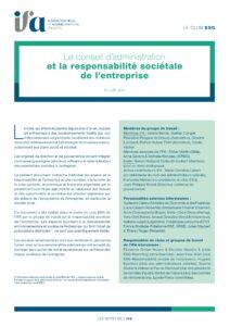 Note du Club ESG - Responsabilité sociétale de l'entreprise - juillet 2021