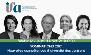 Nominations 2021, nouvelles compétences & diversité des conseils -14 octobre 2021
